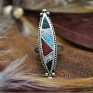Jewelry - Vintage Native American Multi-Stone Turquoise Onyx